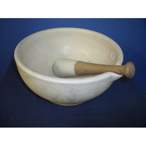 72 - Extremely large acid proof ceramic pestle and mortar (diameter 36cm x 18cm height)...