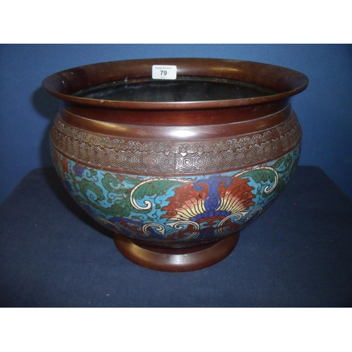 79 - Large 19th/20th C cloisonné jardiniere (diameter 29cm x 22cm high) depicting various floral scenes...