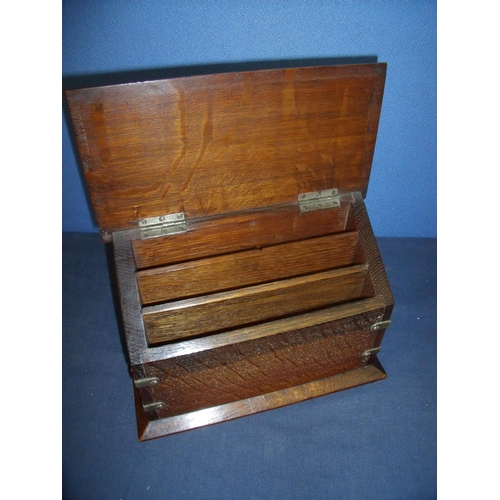 81 - Edwardian oak correspondence table box of rectangular form with hinged lid and three sectional inter...