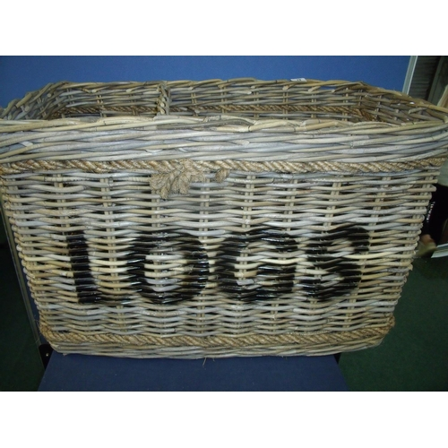 83 - Large modern quality wickerwork two sectional log basket with rope work handles and binding, with sc...