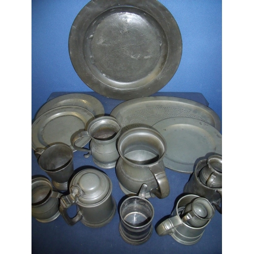 85 - Collection of various assorted 19th C and later pewter tankers chargers, etc (16)...