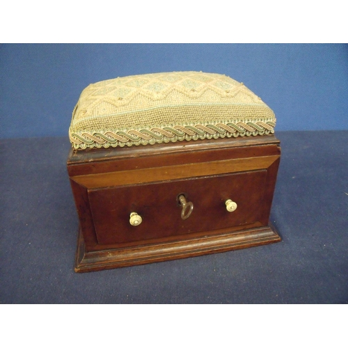 91 - 19th C mahogany sewing box with needlework upholstered top and single drawer, with turned ivory fini...