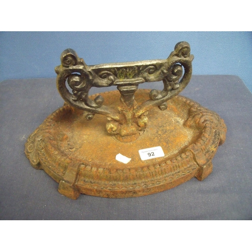 92 - Victorian cast metal boot scraper with oval base...