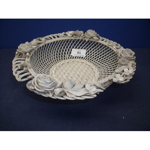 10 - Early Belleek latticework bowl with floral detail to the rim, the underside marked Belleek with addr...