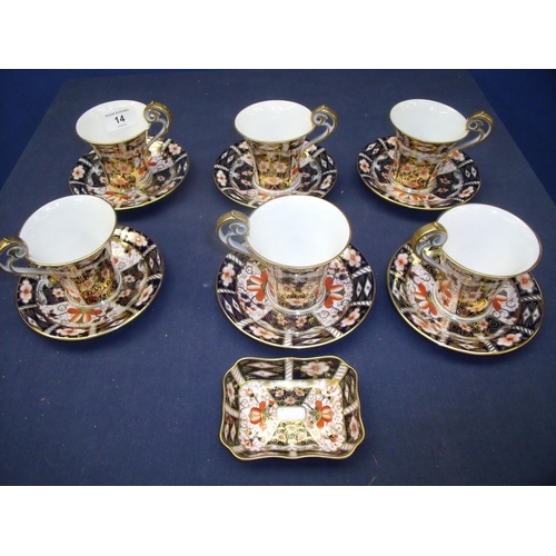 14 - Six place Royal Crown Derby, 2451 pattern, set of coffee cans and saucers (1 can A/F) and matching p...