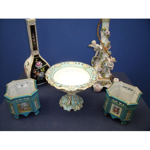 18 - Selection of 19th/20th C Continental ceramics including a pair of Limoges blue & gilt jardinieres de...