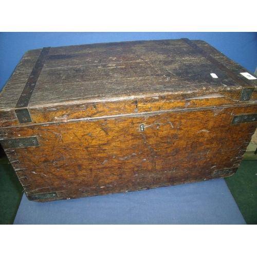 40 - Late 19th C oak rectangular box with hinged lid and metalwork strapping, with inset brass carry hand...