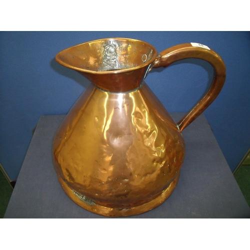53 - Large 19th C three gallon copper measure jug (35cm high)...