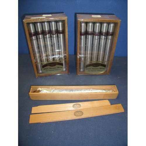 54 - Two sealed boxed cases of ten Backgammon 100% Havana Blend Cigars No 69710, and a Cuban Gran-Gener c...
