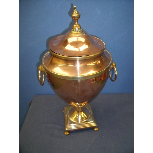 61 - Late 19th C copper Samovar hot water urn with blanked off tap section, on stepped square base (50cm ...