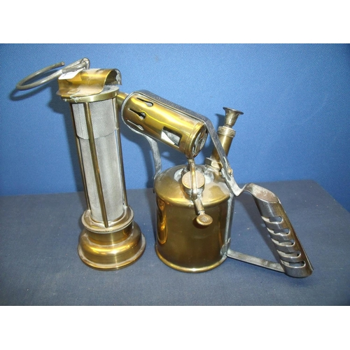 62 - Welsh brass and meshwork miners style lamp and a Bladon of Birmingham brass blow torch (2)...