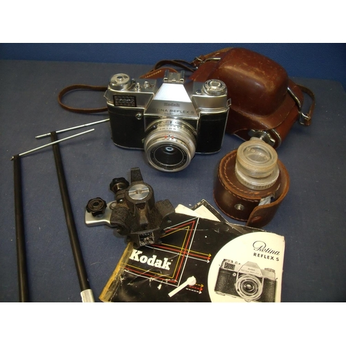 63 - Late 1950's Kodak Retina Reflex S C/W 50mm F2.8 Ysarex with Ever Ready case, Kodak copy stand and va...