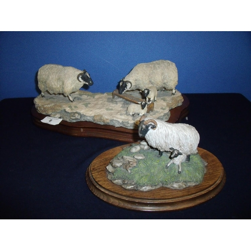 8 - Border Fine Arts group of ewe's and lambs in winter scene by Ayres 1988 mounted on wooden plinth and...