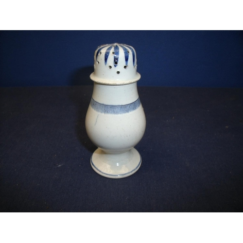 9 - 18th C blue and white pearlware pounce pot with bulbous body and circular base (10.5cm high) (minor ...