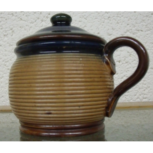 32 - Royal Doulton stoneware preserve pot with ribbed detail and lift off cover, marked K5148 (height 6.5...