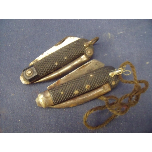 3 - Two British military Jack style knifes with twin blades and spikes...