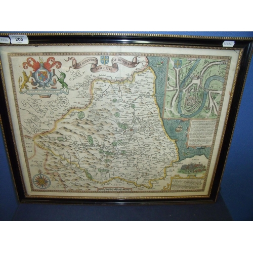 477 - Framed and mounted 18th C hand coloured map of Durham (58cm x 46cm)...