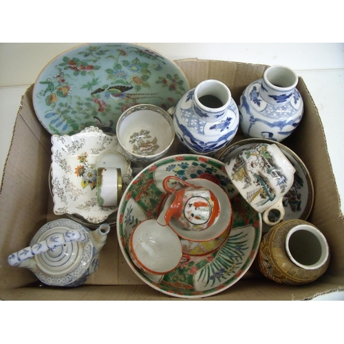 83 - Box of various Chinese, Japanese and Oriental ceramics, including a pair of blue & white vases with ...