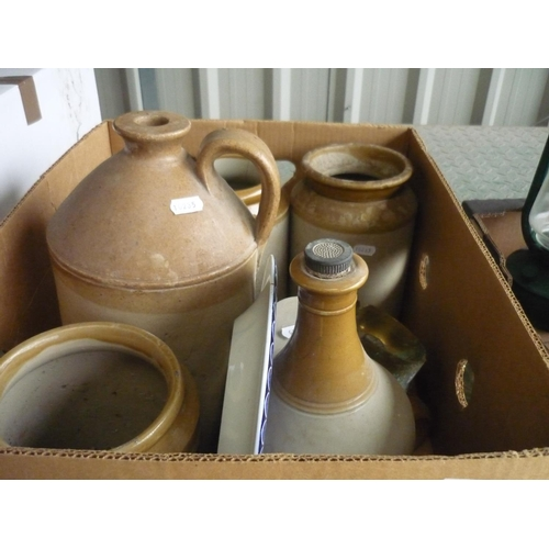 12 - Box containing various jugs and pots and two ash trays made from WWII gun casings...