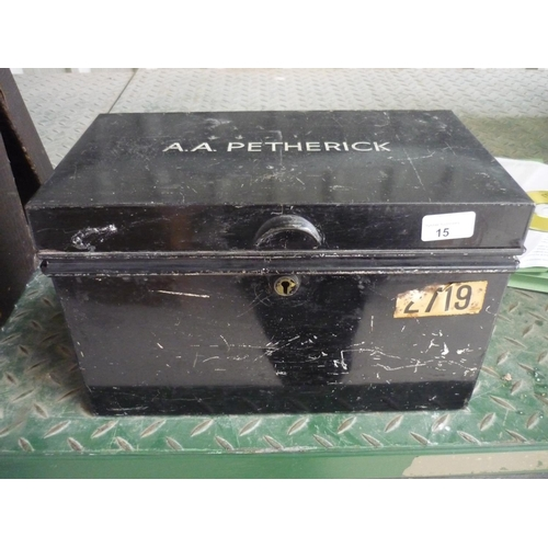 15 - Small metal vintage strongbox with the name A A Petherick...