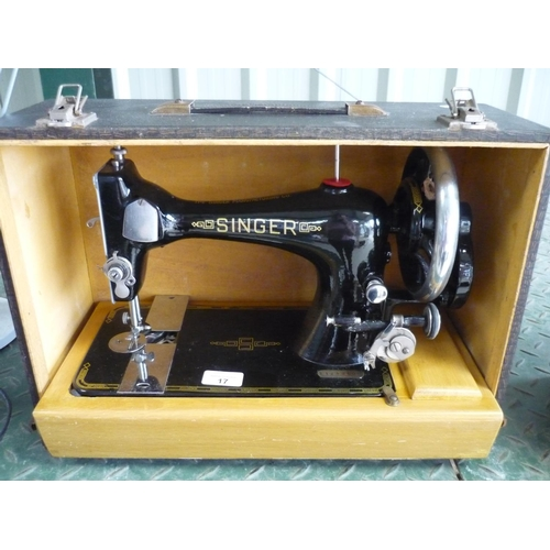 17 - Vintage boxed Singer sewing machine...