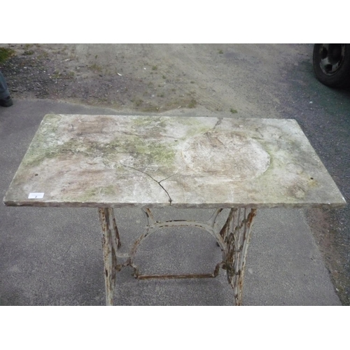 2 - Marble topped table, legs formerly a sewing machine...