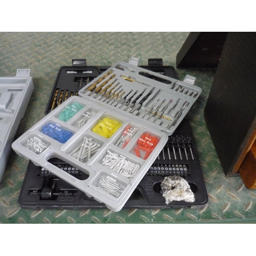 22 - Challenge box of drill bits, screwdriver pieces and a box containing wall plugs and drill bits...