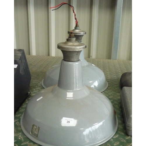 26 - Two RLM industrial heat lamps...