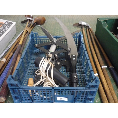 35 - Box containing saws, tree pruner and shears for extension pole...