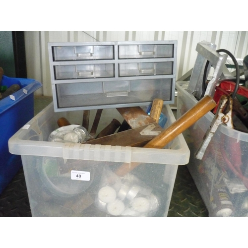 40 - Box containing tools, axes, set squares, chisels and small screw box...
