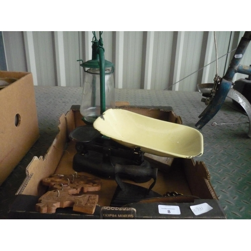 8 - Box containing a Tilly lamp, a flat iron, and a set of scales etc...