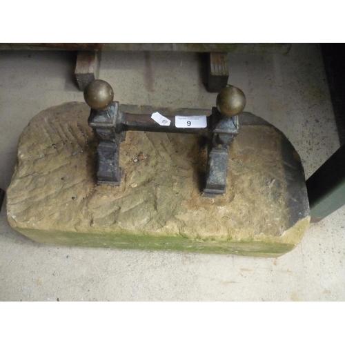 9 - Ornate brass and cast metal bootscraper in sandstone...