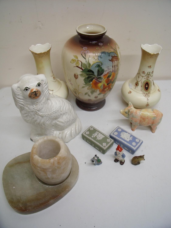Two Wedgwood boxes, Wade figures, Staffordshire Spaniel, vases, onyxware etc