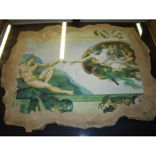 1 - Boxed reproduction Michael Angelo La Creazione painted plaster panel mounted on board with glazed fr...