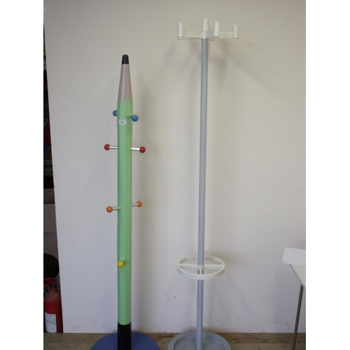 2 - Unusual hat and coat stand in the form of a pencil, and another modern hat and coat stand (2)...