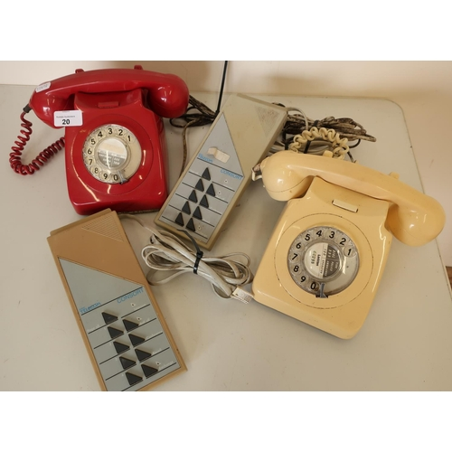 20 - Two GPO746 Rotary Dial telephones circa 1970, one red and one cream...
