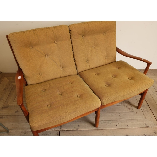 27 - 1960s vintage Parker Knoll two seat wooden settee, model number PK1016-19...