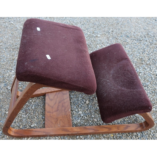 53 - Late 20th C wooden framed kneeling chair...