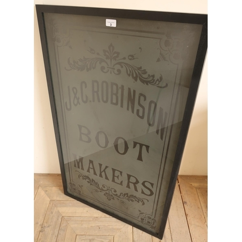 3 - Late Victorian acid etched shop door sign 'J & C Robinson Boot Makers' (63cm x 104cm)...