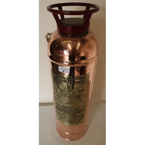 4 - Early-mid 20th C polished copper and brass 'Fyr-Fyter Foam Fire Extinguisher'...