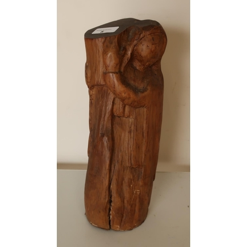 5 - Naively carved pine figure depicting The Madonna...