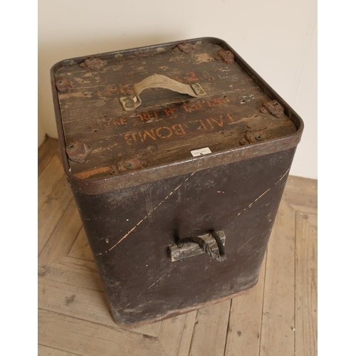 9 - 1960s Ministry of Defence ply wood and metal backed bomb box with rope handles (50cm x 66cm)...