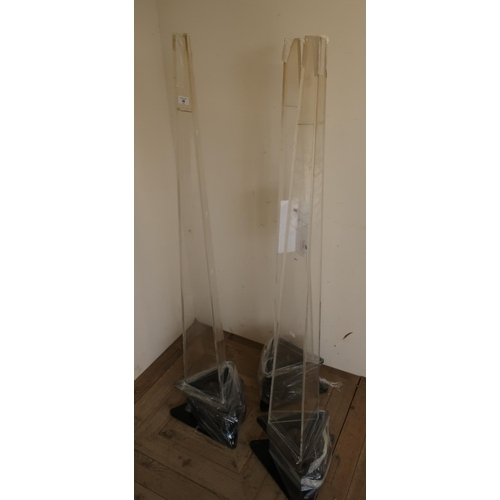 38 - Set of three pyramid water filled bubble lights (empty)...