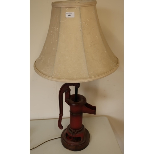40 - Decorative table lamp made from a cast metal water pump, complete with cream lampshade (height appro...