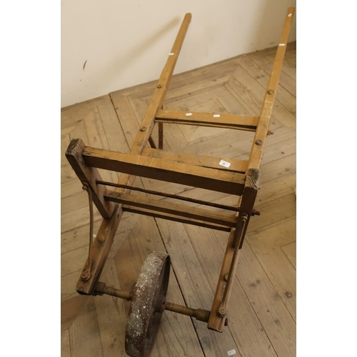 45 - Vintage style single wheel porters type trolley...