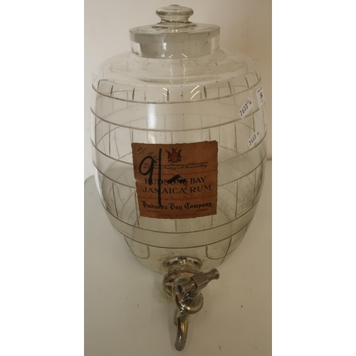 54 - Early 20th C Hudson's Bay Jamaican rum etched glass barrel with tap and trade label (height approx 3...