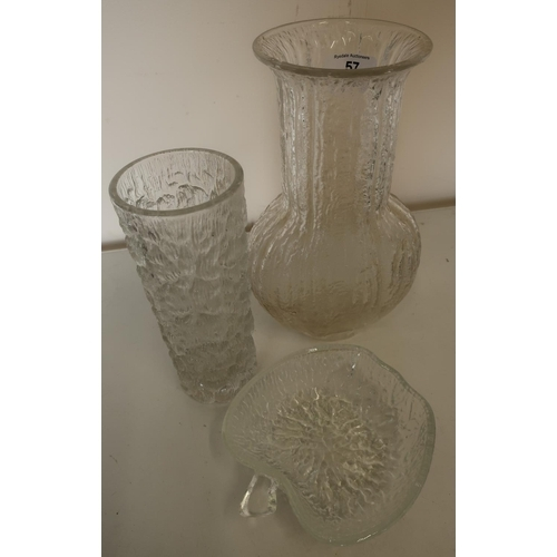 57 - Mid-late 20th C design glass vase with flared rim, another similar of tapering form and apple shaped...