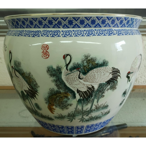 47 - Large 20th C Chinese jardiniere decorated with various cranes and fish to the interior (diameter 36c...