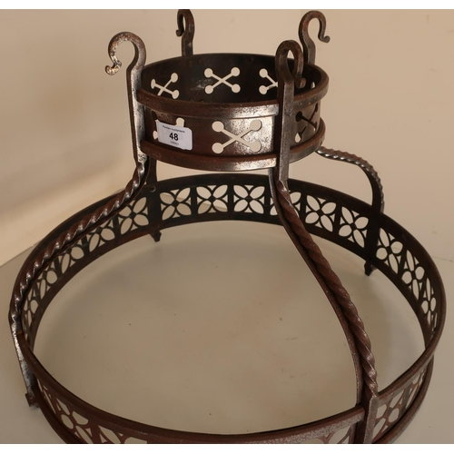 48 - 19th/20th C wrought metal centre hanging Baronial style fitting with traces of silver plate (diamete...