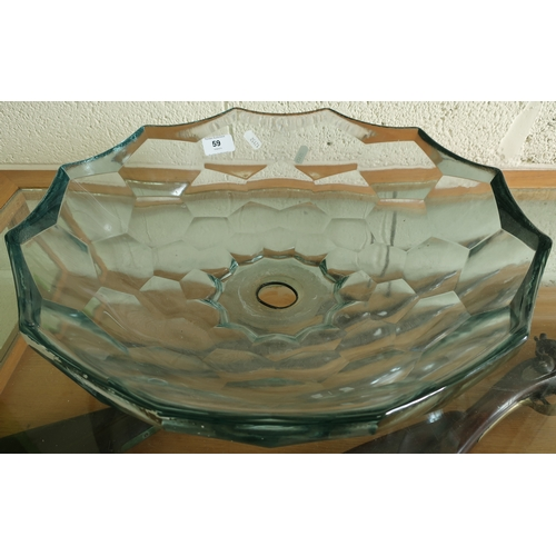 59 - Modern design glass sink with adazed style detail (diameter 43cm)...